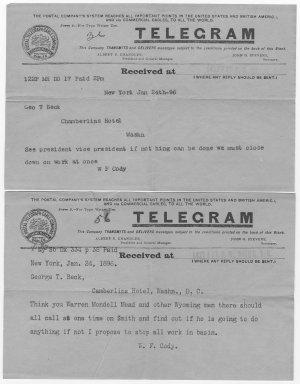 Two telegrams, January 24, 1896